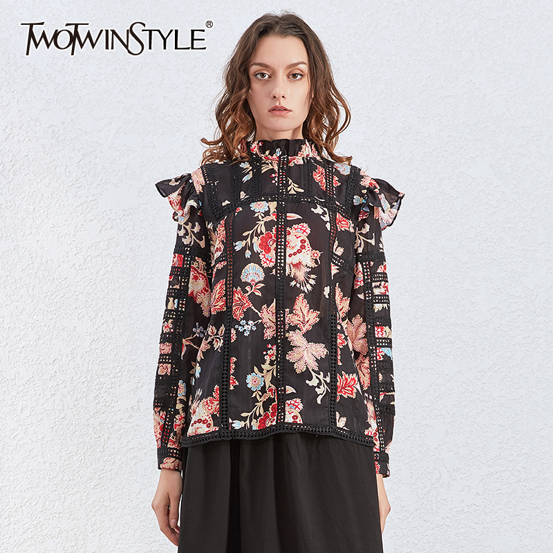 TWOTWINSTYLE Vintage Print Ruffle Shirts For Women Stand Collar Long Sleeve Shirt Female 2020 Autumn Fashion New Clothing
