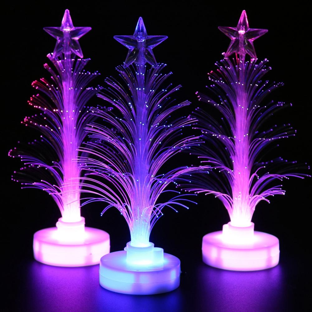 Colored Fiber Optic LED Light up Mini Christmas Tree with Top Star Battery Powered Christmas Tree Decoration Lamp Christmas t