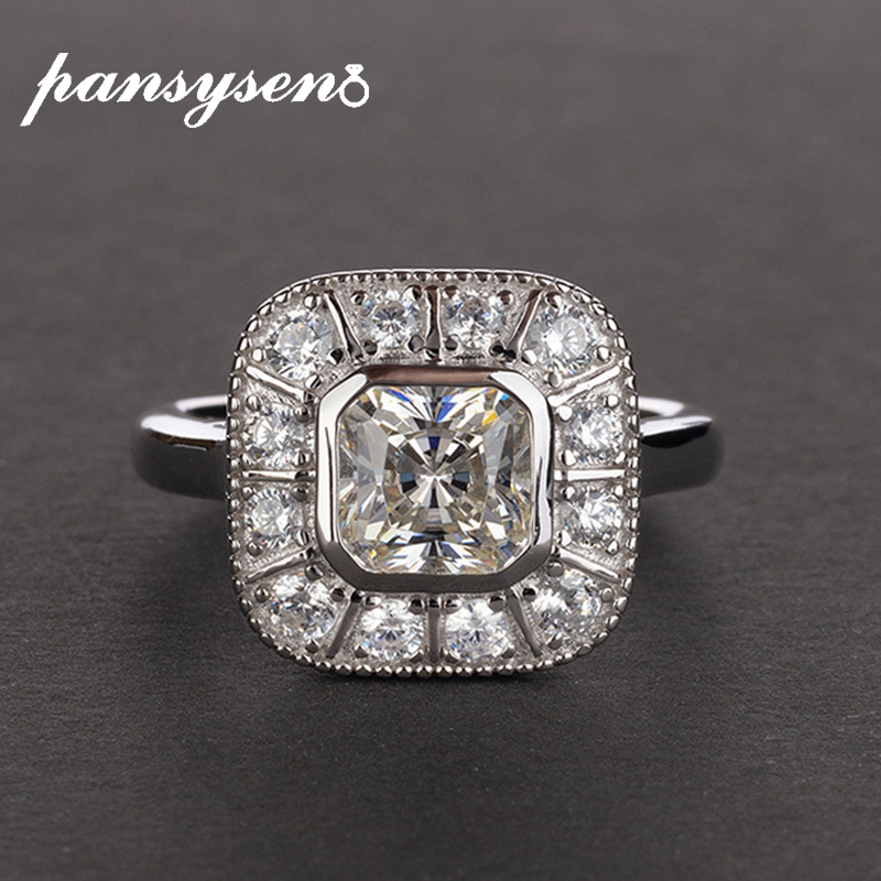 PANSYSEN Brand Pure 925 Sterling Silver Lab Moissanite Diamond Wedding Engagement Ring Fine Jewelry Gemstone Rings for Women