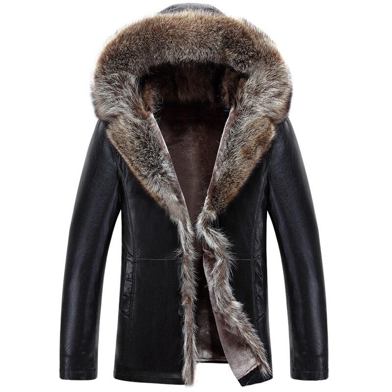 Men's Winter Fur Leather Jackets Mane Fur Cashemere Hooded Jackets Black Business Leather Coat Parka For Male