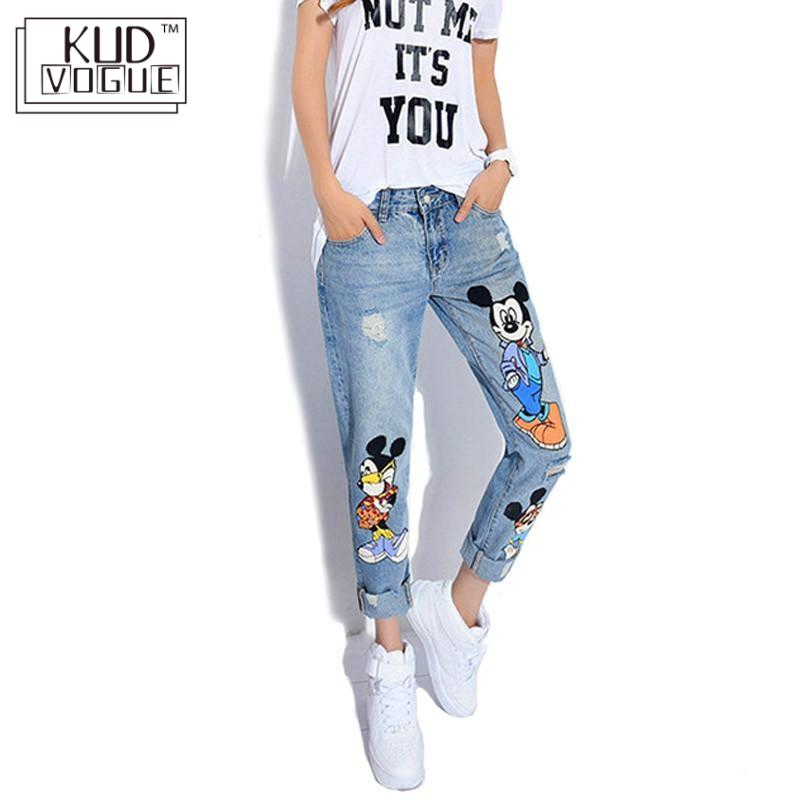 KUDE 2019 Jeans Women Casual Denim Ankle-Length Boyfriend Pants Women Print Pants Casual Harem Pants Female Plus Size 5XL 5822