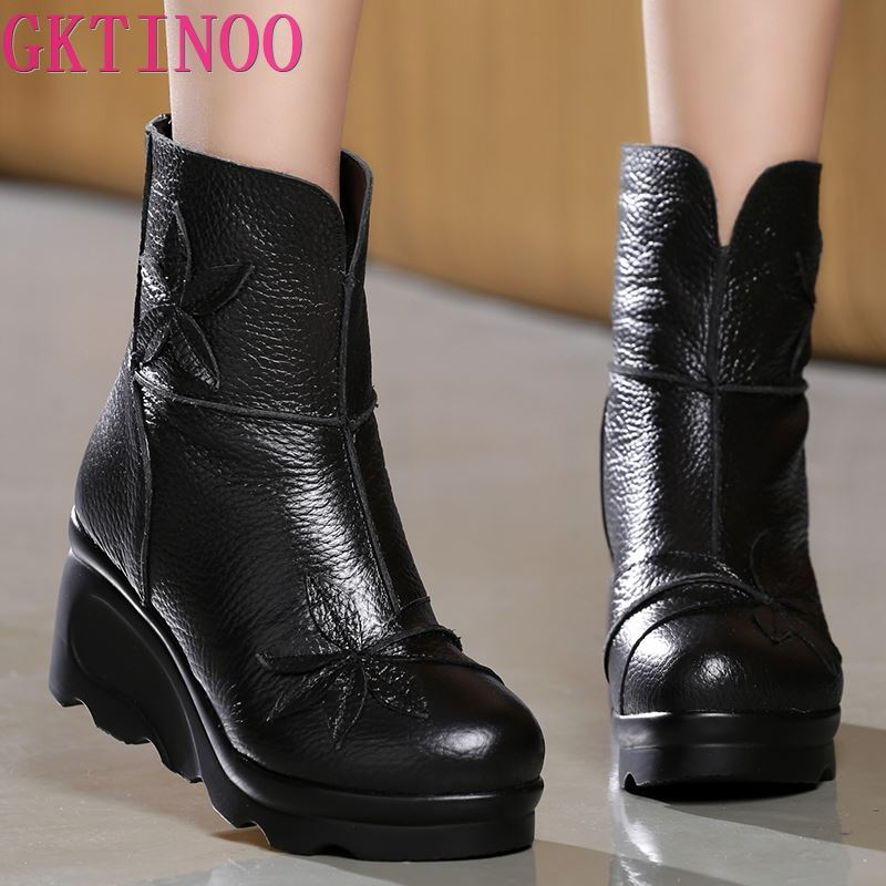 GKTINOO New Fashion Genuine Leather Women's Boots Winter Shoes Casual Women Wedges Shoes Handmade Woman Ankle Boots