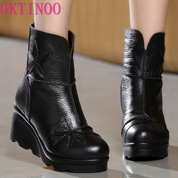 GKTINOO New Fashion Genuine Leather Women's Boots Winter Shoes Casual Women Wedges Handmade Woman Ankle - discount item  30% OFF Women's Shoes