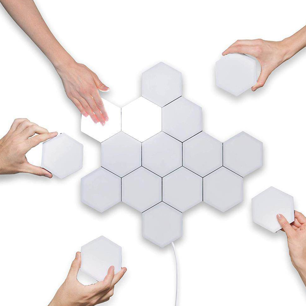 10PCS/Set LED Quantum Hexagonal Wall Lamp Creative White LED Night Light Touch Sensitive Hexagonal Lamps Modular Wall Lampara