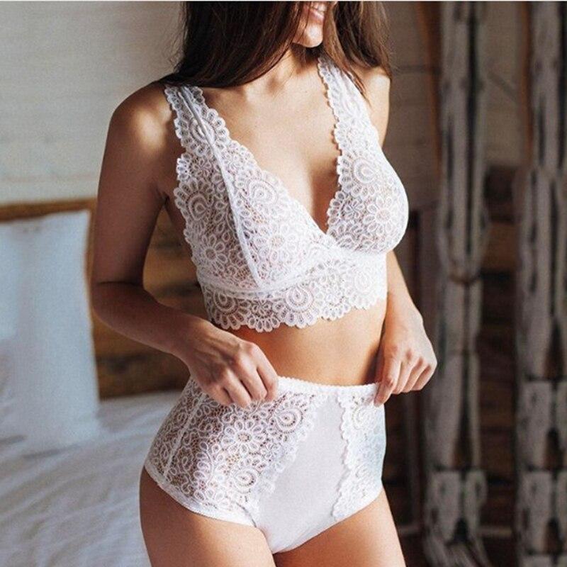 Lace Bra And Panty Set Transparent Bra See Through Sexy Pajama Set Lingerie Set 3XXL Plus Size Deep V-neck Women Sleepwear