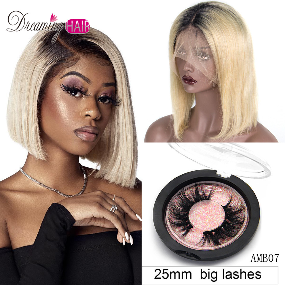 Dreaming Blonde 1b/613 99J 13x6 13x4 Short Bob Lace Front Human Hair Wig Pre Plucked With Baby Hair Straight Ombre Lace Bob Wigs