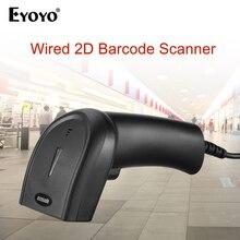 Eyoyo EY 006Y 2d scanner de código de barras portátil com fio 1d 2d usb leitor de código de barras qr scanner de código de barras