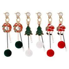 Рождественская серия длинные женские серьги милые белые плюшевые