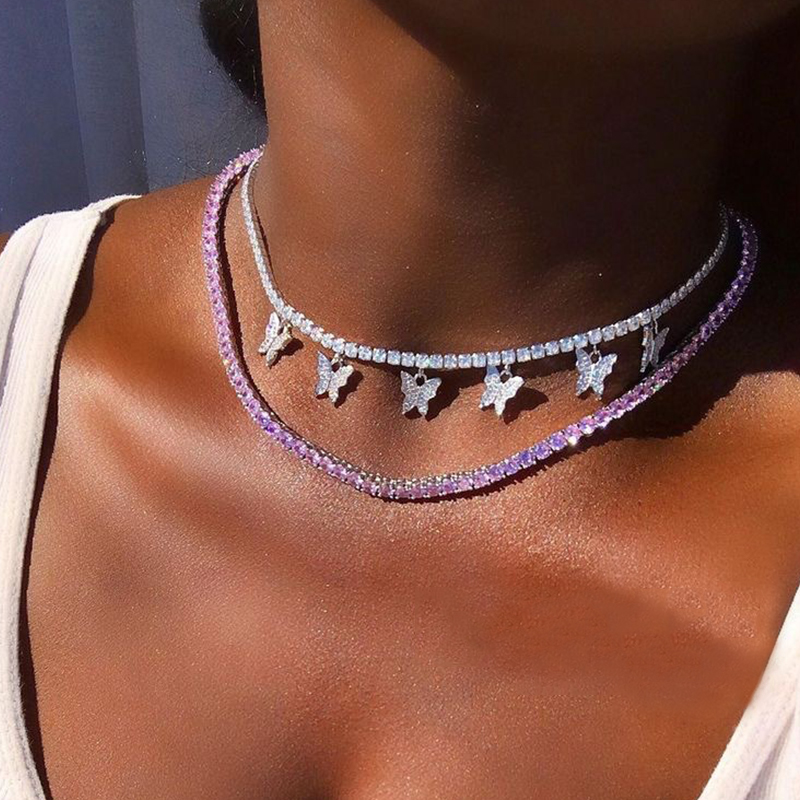 2 Pcs/Set Sweet Crystal Butterfly Pendant Choker Neckalce for Women Multilayer Chain Necklace Set Party Jewelry Gifts