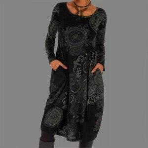 Женское платье в стиле бохо, винтажное платье-рубашка с цветным принтом, круглым вырезом, длинным рукавом и карманами, Повседневное платье ...