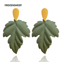 FROZENSHEEP new big leaf earring for women hot sale trendy exaggeration plant leaves dangle earrings Painted metal jewelry gift