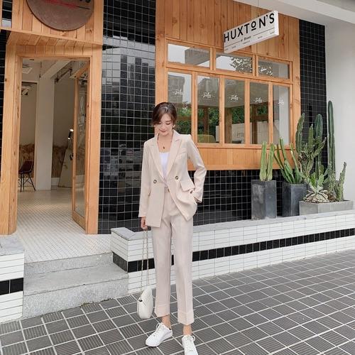 2019 New Korean Version Commuter Suit Office Lady Double Breast Button Female Elegant two pcs Suits