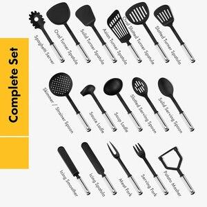 Image 4 - Ensemble dustensiles de cuisine ensemble dustensiles de cuisine 40 pièces ensemble dustensiles en Nylon et en acier inoxydable ensemble de spatule antiadhésive ensemble doutils de cuisine cadeau