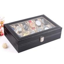 Leather 10 Slot Watch Box Glass Top Watch Jewelry Display Case Organizer