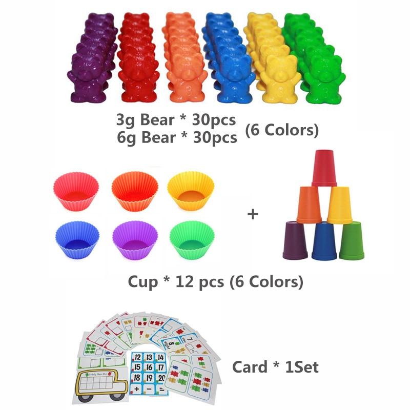 1 набор, счетные медведи, штабелирование чашек-Монтессори, радужная игра, обучающая Сортировка цветов, игрушки для малышей - Цвет: Set L