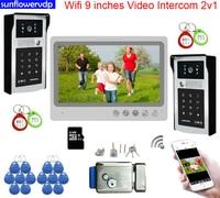 Wifi Color 9inches Video Intercom Rfid Code Unlock Video eye Intercom Doorphone 2 Doors 1 Monitor Intercoms + Door Lock System