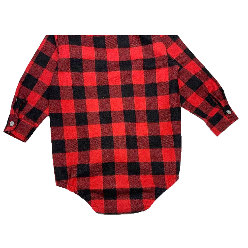 Купить с кэшбэком Unisex Autumn Spring Baby Girls Boys Clothes Christmas Plaid Rompers Toddler Newborn Baby Fits One Piece Suit