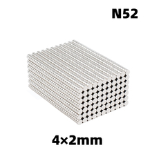 AGMA 100pcs  neodymium magnet for N52 Super strong rare earth mini 4mm x 2mm permanent round rare earth magnet  4*1MM rare earth high purity scandium chloride sccl3 xh2o