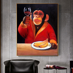 CNPAINTING Wall Art Canvas Painting Animal Picture Poster Monkey Chimp Drinking WIne Smoking Living Room Home Decor No Frame