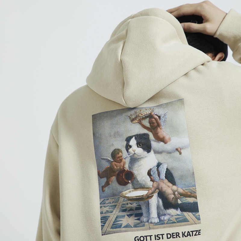 Homens Hip Hop Camisola Do Hoodie Gato Anjo Impressão 2019 Harajuku Streetwear Hoodies Engraçados Camisolas Pulôver de Algodão Com Capuz Outono