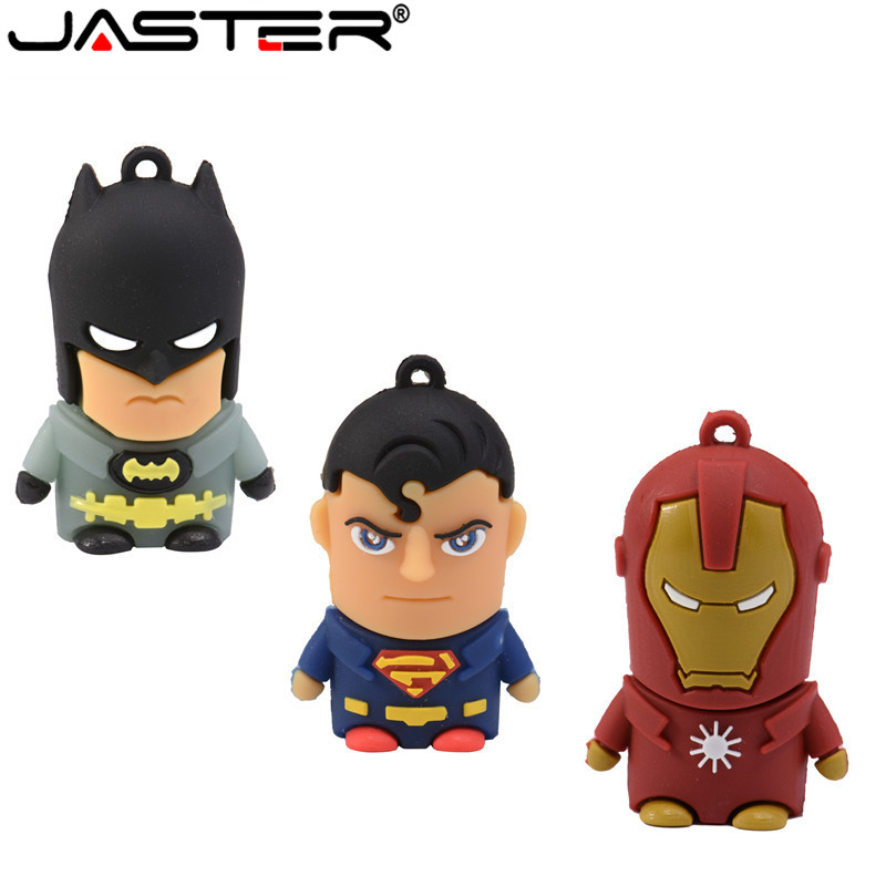 JASTER New Cartoon Super Hero USB Flash Drive 16GB 32GB 64GB Iron Man Flash Memory Batman Pendrive Captain America Pen Drives