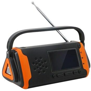 LED Screen Power Bank Household Hand Crank Emergency Radio Portable USB Charger Dynamo Flashlight Multifunctional Solar Powered