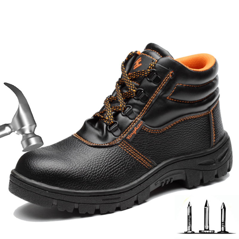 New Men's Boots High Boots Men's Anti-smash Injury Anti-piercing Winter Boots Indestructible Steel Head Shoes Safety Work Shoes