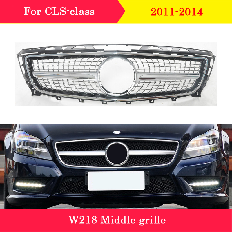 Car styling Middle <font><b>grille</b></font> for Mercedes-Benz CLS-Class <font><b>W218</b></font> 2011-2014 front GT Diamond style <font><b>grille</b></font> CLS300 CLS350 vertical bar image