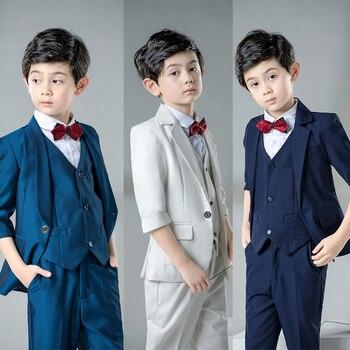 YuanLu Boys Suits 4PCS Seven-quarter Sleeve Kids Suit For Weddings Party Piano Baby Boy Clothes