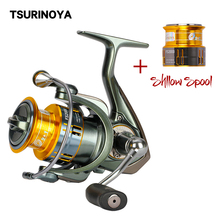 TSURINOYA FS2000 Spinning Reel with Spare Shallow Spool 5.2:1 9+1BB Ultra Light Spinning Fishing Reel for Freshwater Saltwater