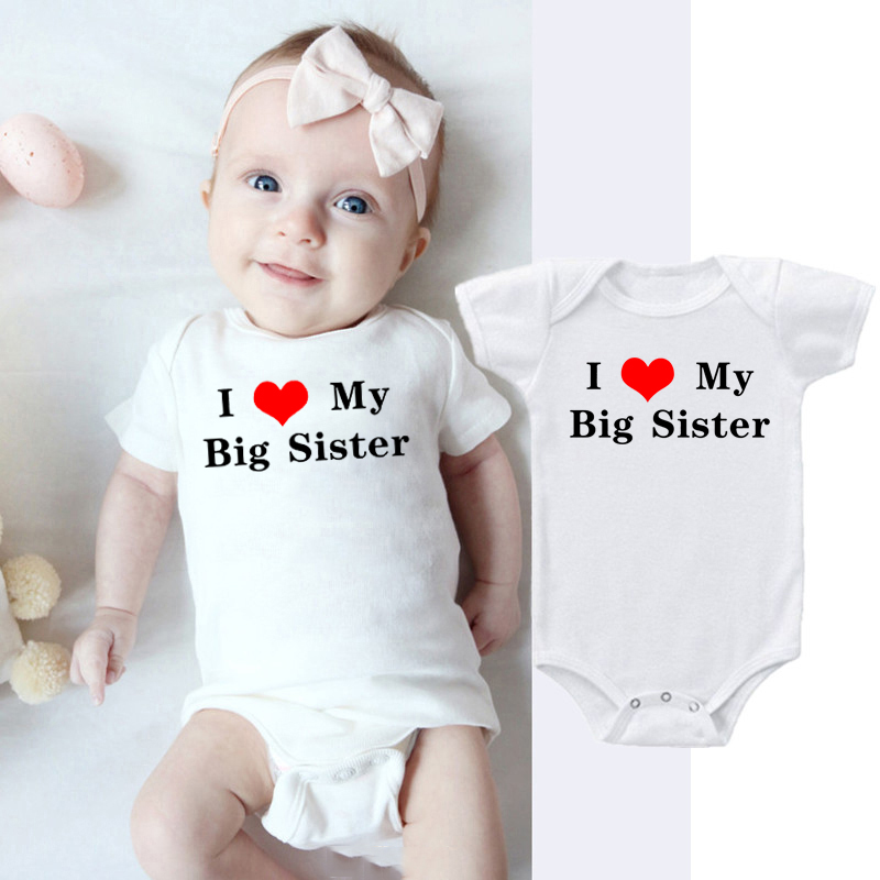 I Love My Big Sister Print Newborn Cotton Romper Infant Baby Boy Girl Short Sleeve Jumpsuit Funny Toddler Casual Rompers Outfits