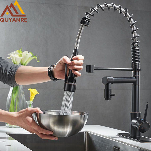Blackened Spring Kitchen Faucet Pull Out 360 Rotation Side Sprayer