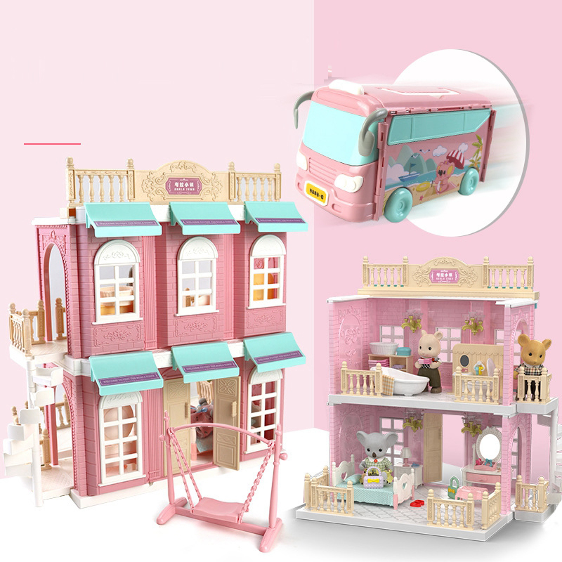 Koala Toy Forest Animal Set DIY Toy Furniture Bedroom Set Halloween Toys Family Model Play House Doll Set for Girl Kids Toys-2