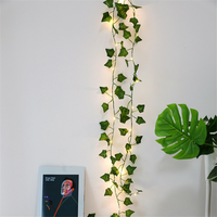 2M 20 LED Simulation Rattan Leaf Copper Wire Lights String Wedding Decoration for Home Jungle Party Decor Mariage Baby Shower
