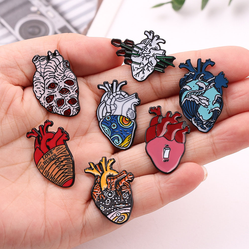 1PC Pins For Bag Clothes 12 Style Organ Heart Enamel Pins Medical Jewelry Hug Longing Blood Red Heart Lapel Pin Badge Brooch