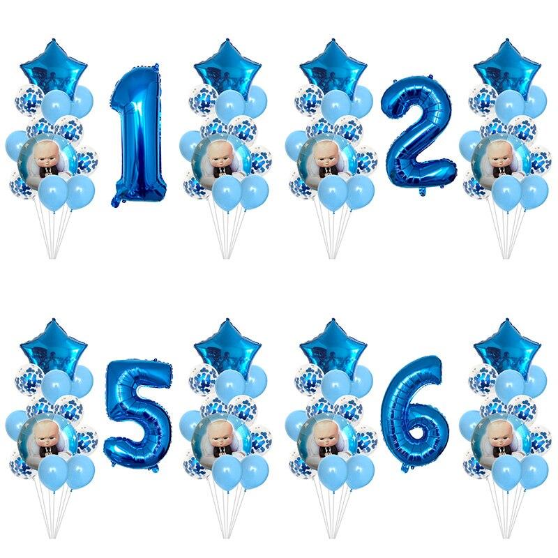 Набор цифровых шаров с конфетти 25 шт./лот Boss baby, украшения для дня рождения, вечеринки в честь рождения ребенка, детские игрушки, шары