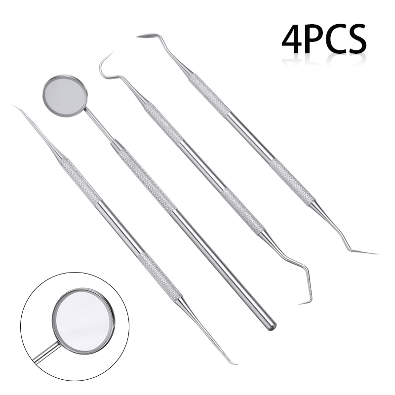 4pcs Stainless Dental Tooth Scraper Mirror Set Double-ended Tartar Calculus Plaque Remover Oral Care Tool Dental Equipment