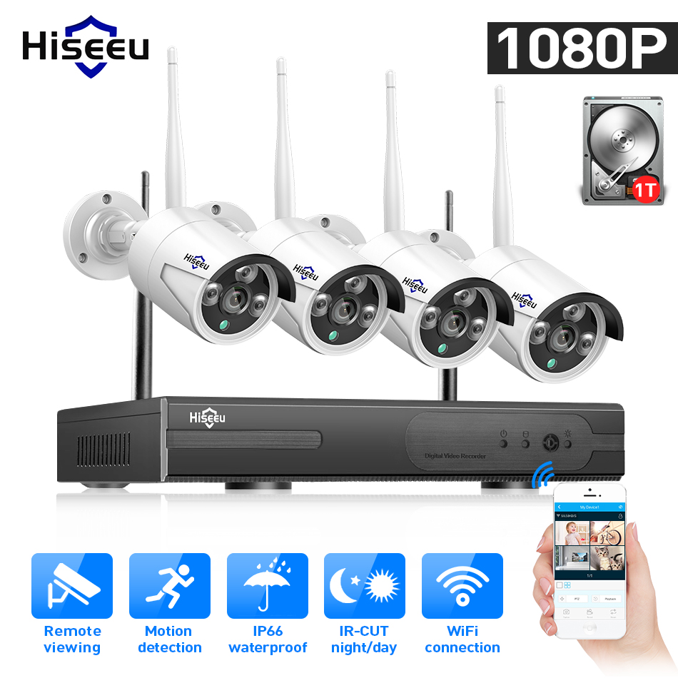 WIFI IP Bullet Camera 1080P 8CH NVR Wireless CCTV Security System Kit Infrared 4PCS Cam Remote Viewing By IP Pro 1T Hdd