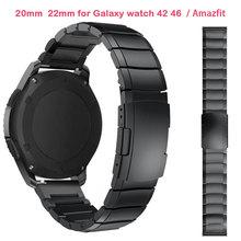 22mm 20mm pulseiras de relógio para samsung galaxy watch 42 46mm para amazfit bip ritmo motor 360 aço inoxidável correias engrenagem s3 s2 clássico