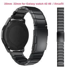 Correas de reloj para Samsung Galaxy Watch, bandas de 22mm y 20mm, 42 y 46mm para Amazfit Bip Pace Motor 360, correas de acero inoxidable Gear S3 S2 Classic