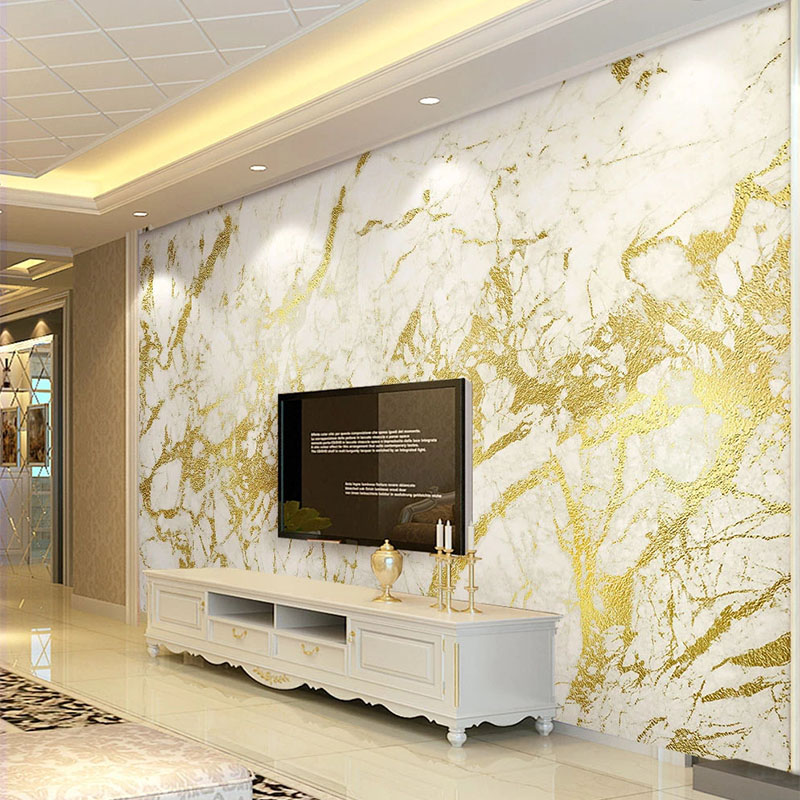European Style Luxury Wallpaper 3D Golden Stripe White Marble Wallpaper Living Room TV Sofa Bedroom Background Wall Paper Fresco