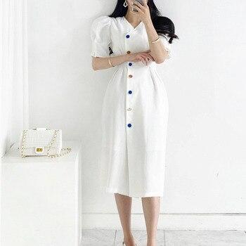 New Fashion Women 2020 Vintage Ruffled Pleated Dress Short Sleeve Sexy Solid Elegant French Style Single-Breasted Vestido