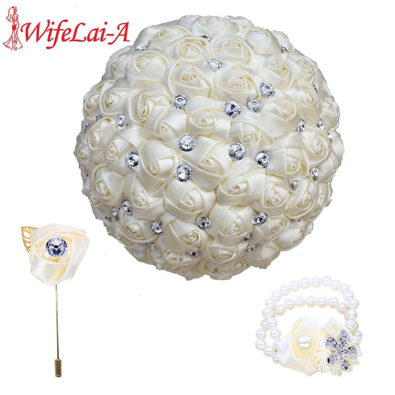 WifeLai-A Wedding Flower Ivory Satin Rose Bride Bouquet Artificial Flower Wedding Ribbon Boutonniere And Wrist Corsage Set T323