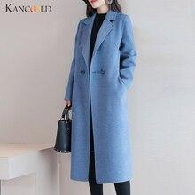 KANCOOLD женское однобортное модное шерстяное пальто, 4 цвета, S-3XL, однотонное, зима, модное приталенное Элегантное длинное пальто