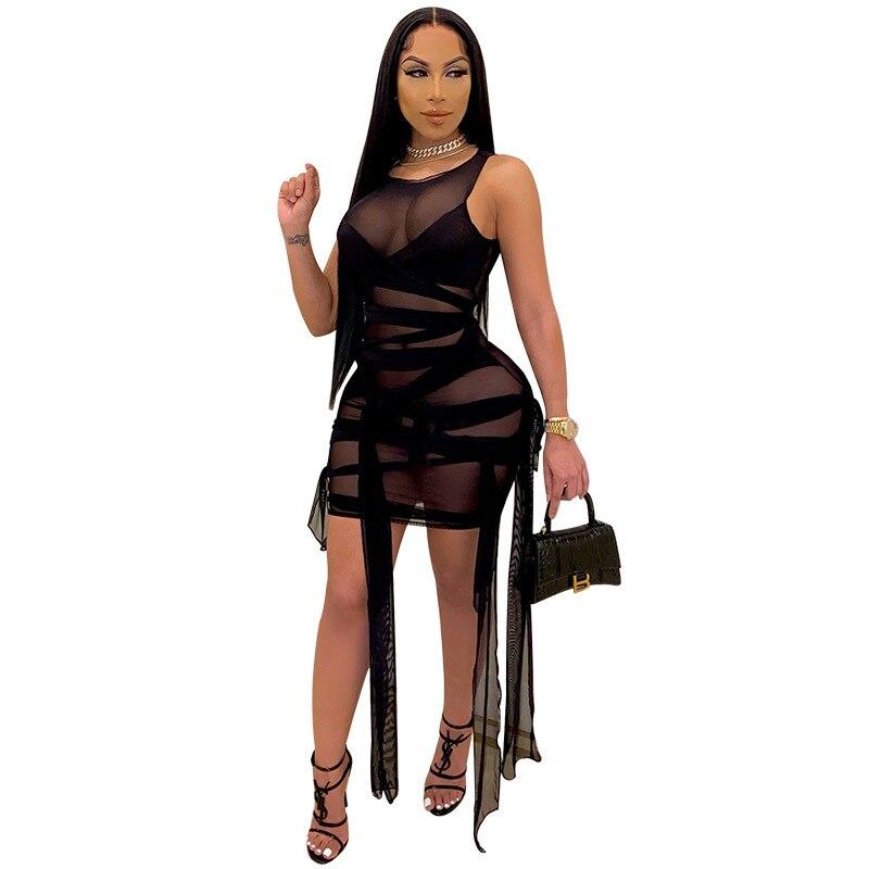 Przezroczysta siateczka bandaż Mini sukienka dla kobiet 2021 Sexy O Neck bez rękawów przepuszczalność Lace Up Night Club sukienek Plus rozmiar 4XL