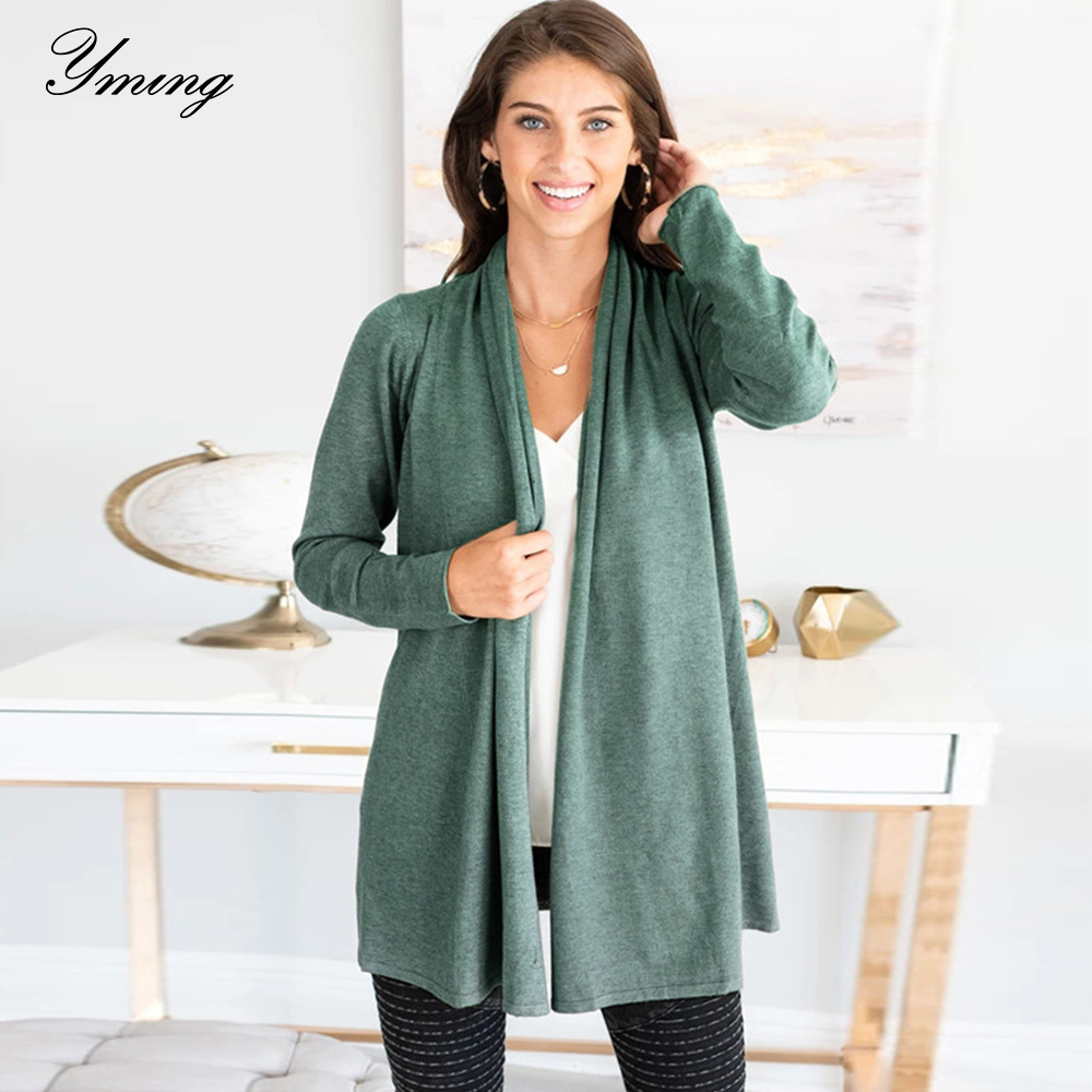 YMING Fashion Autunm Winter Cardigan Woman Warm Jacket Long Sleeve Sweater Knitted Long Cardigan Female Streetwear Woman Clothes