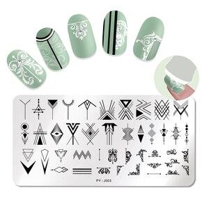 Image 1 - PICT YOU płytki do stemplowania paznokci geometryczny prostokąt ze stali nierdzewnej płytka z obrazkiem drukuj wzornik narzędzia do paznokci J003