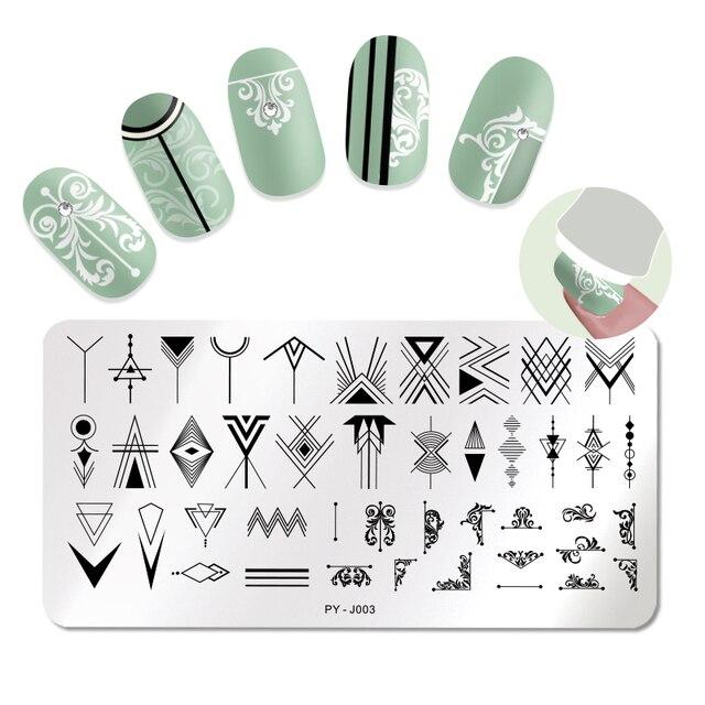 PICT YOU płytki do stemplowania paznokci geometryczny prostokąt ze stali nierdzewnej płytka z obrazkiem drukuj wzornik narzędzia do paznokci J003