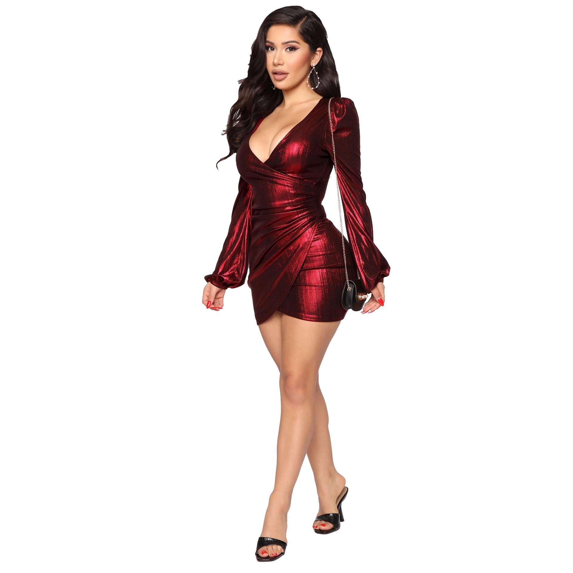 Shiny Bronzing Ribbed Elegant Bandage Dress Women Sexy Deep V Neck Long Sleeve Ruched Dresses Vintage High Waist Slim Fit Dress 8