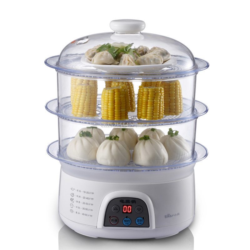 CCC Multi function household electric steamer visible facial steamer 3layer food steamer PP steam tray 8L 650W 220V Electric Food Steamers Home Appliances - title=